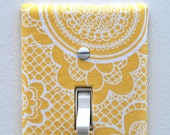 Light Switch Plate Cover, wall decor - yellow with white lace pattern