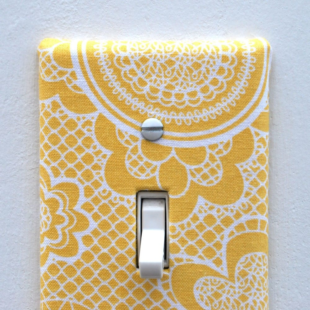 Light switch plate cover wall decor yellow with white lace for Decor light switch