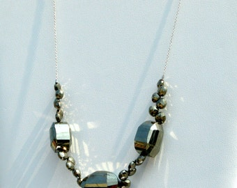 ALL THAT GLITTERS - incredible blingy pyrite necklace with sterling silver - free shipping