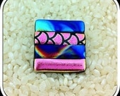 Pendant and Brooch Dichroic Glass in Bright Colour Metallics - Pin Fitting with Bail Loops - Square Shape - Gift Box.