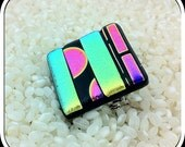 Pendant and Brooch Dichroic Glass in Bright Colour Metallic Effect Stripes - Pin Fitting with Bail Loops - Square Shape - Gift Box