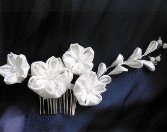 White Cherry Blossom Bridal Fabric Kanzashi Hair Comb - Made To Order