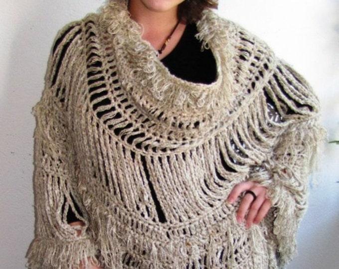 Crochet PONCHO, BEIGE poncho, Shaggy fringe poncho, cotton poncho, Festival clothing, Boho chic, gypsy poncho , boho poncho, Urban chic