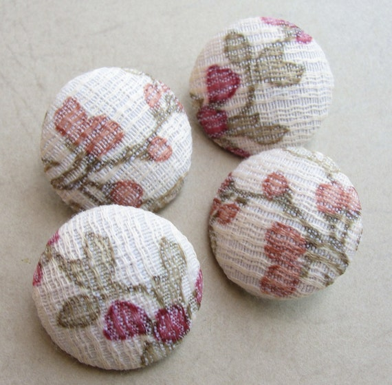 Fabric Covered Buttons - Barkcloth - 4pc