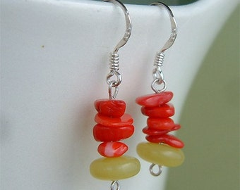Red Coral Green Jade Gem Stone Sterling silver Dangle Earrings Eco Best Friend Gift New
