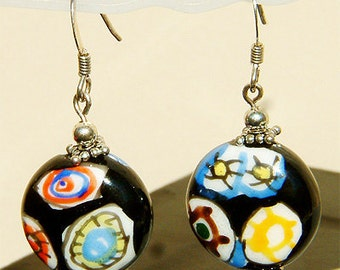 Handcrafted Dangling Sterling silver earrings with Picasso like Abstract Painting Earrings