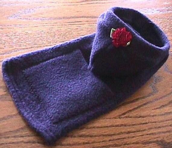 NAVY Fleece Hoodie w/Pocket & Red Flower Dog Coat  (xxxs-xxs-xs-s-m)