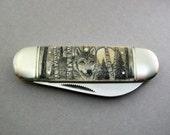 Scrimshaw Pocket Knife with full moon wolf scene