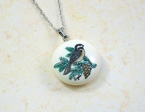 Ivory Scrimshaw Chickadee necklace on sterling silver chain