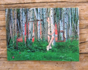 Girl in Birches Collage Art Note Card - Blank - 3 1/2 x 5 inches