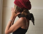 Red hat, red beanie Hat  red chunky hat  hand knit HAT LTD Edition in this shade