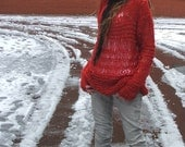 Red Sweater Poppy Red Oversized thin knit grunge sweater