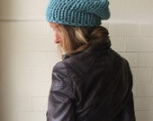 pale bue hat  light dusky turquoise blue chunkier hand knit hat, vegan friendly
