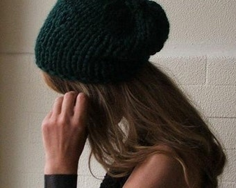 slouchy beanie Emerald Green Chunkier hat, vegan friendly hat READY TO SHIP