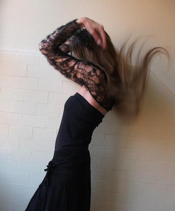 Black shrug / lace shrug / knit lace shrug /  kid mohair web shrug