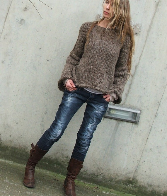 Brown mohair mix sweater / Brown comfy sweater LAST ONE in this shade