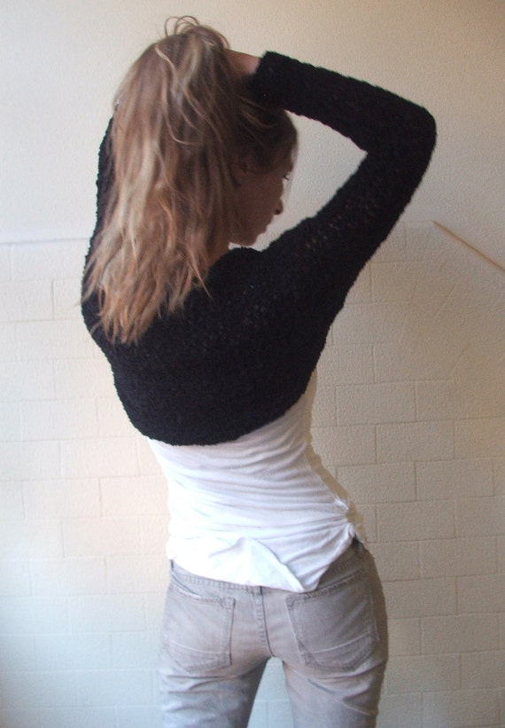 RESERVED FOR ALLISON / Black shrug  / Hand knit Black long sleeved winter shrug LTd Edition.