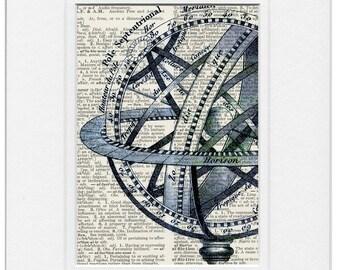 Western Hemisphere celestial globe print
