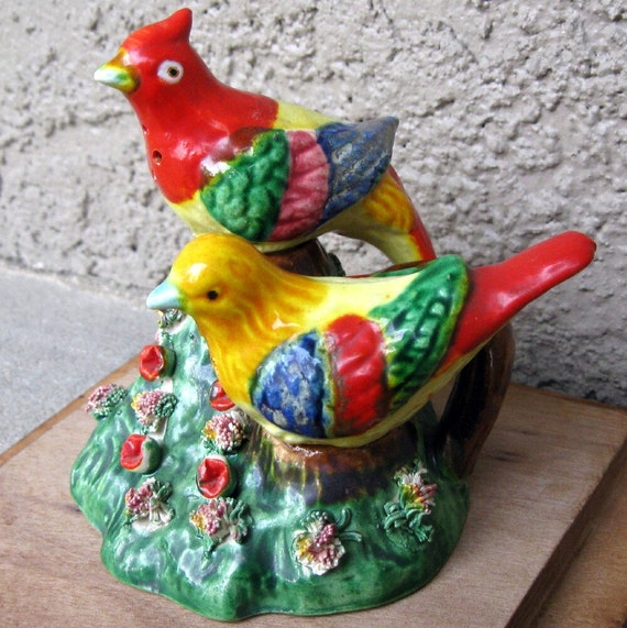 Vintage Salt and Pepper Shakers of Tropical Birds