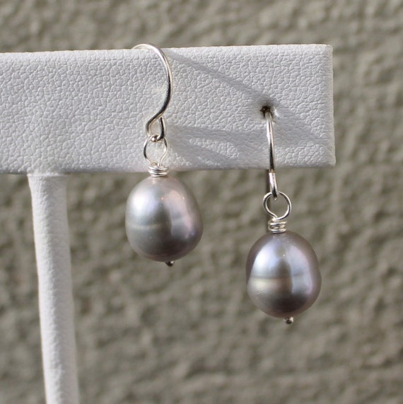 Gray Pearl Earrings, Sterling Silver, Bridesmaid Jewelry, Mother of the Bride or Groom Gift, French Hook