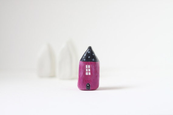 RESERVED for Nicole - SALE - Little Home No 103 - Black and pink little clay house with polka dot