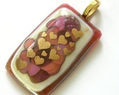 Hearts Afire -  Bouquet of Red & Flame - Abstract Fused Glass Pendant with Scattering of Gold Hearts - nanettebevan