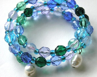 Ocean Blues Bracelet with Baroque Pearls - Beaded Blue Wrap - Summer Beach Jewelry