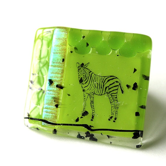 Green Zebra Fused Glass Brooch - Zebra in a Swirl of Leaves - Dichroic Glass Accents- Bright Chartreuse - Vivid Spring