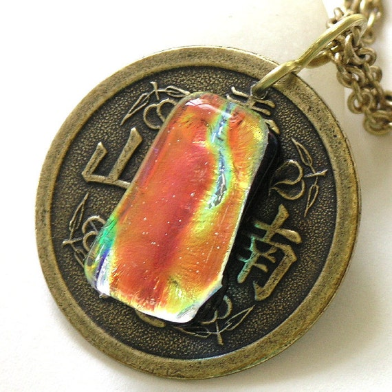 Silk Road Mixed Metal Necklace with Golden Fused Glass Cabochon
