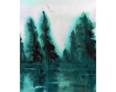 Abstract Dark Green Fir Trees in Watercolors, Landscape, Forest