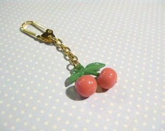 Cute Juicy Pink Cherry Golden Keychain, Cherry Keychain, Fruit Keychain, Cherry Hanging Decoration, Cute Cherry Key Holder, Christmas Gift