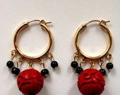 SPECIAL ORDER for SARA  Cinnabar and Black Coral Gold Hoop Earrings