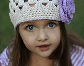 "Crocheted Beanie Hat ""The Ember"" Open Weave Beanie Ivory Lilac As featured in MODEL LIFE MAGAZINE"