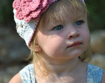 """Beanie Hat Crocheted """"The Daijah"""" White, Rose Pink Choose your Size/Color Trendy Flower Trim"""