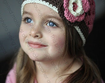 """Beanie Hat Crocheted """"The Annabelle"""" Rose Pink Chocolate White Open Weave Style Flower Band Trim"""
