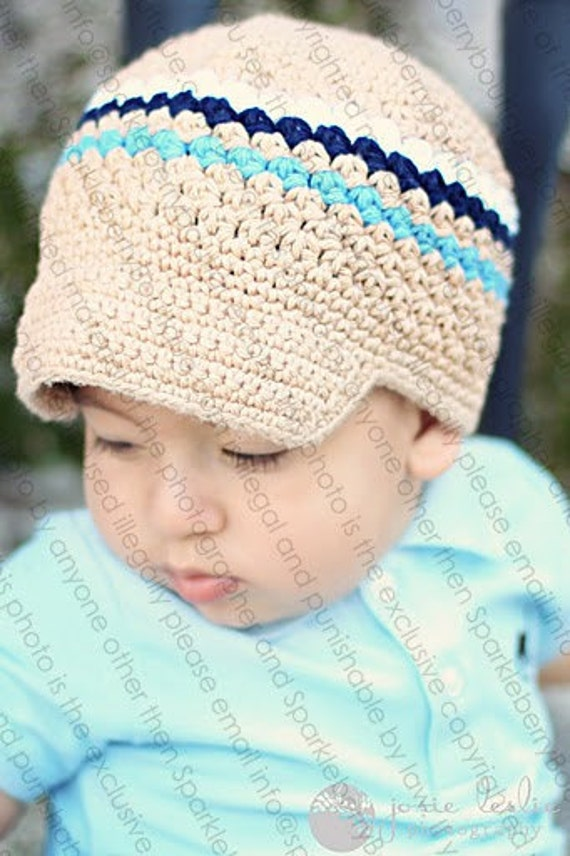 """Crocheted Newsboy Hat """"The Corin"""" Jute/Navy/White/Blue Trendy Skater Brimmed Hat Cool Featured in Model Life Magazine"""