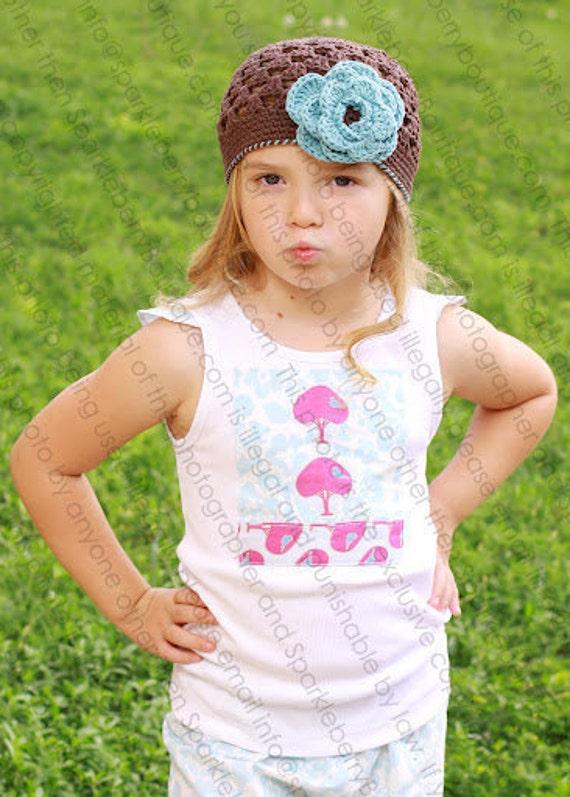 THE BRINLEE Crocheted Beanie Chocolate/Soft Teal  Newborn - Teens Summer Flower Photo Prop Infant Toddler