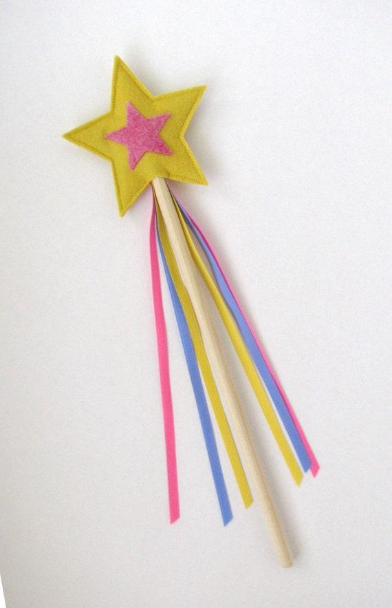Wool and Wood Magic Wand -- yellow and pink