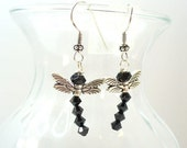 Black Dragonfly Earrings Black Dangle Earrings  Crystal and Silver Dragonfies - E0902-17
