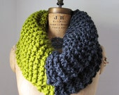 Super Snuggly Chunky knit cowl Chartreuse. Grey.