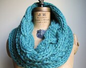 Oversized Cable knit cowl Teal. Seafoam. Jade. Handmade knitwear. Huge warm infinity scarf. Handcrafted fashion knitwear.