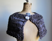 RESERVED Knit Capelet Dark Brown. Grey.