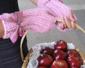 Pink hand knit fingerless gloves. Handmade knitwear. Hand crafted knit wear. Rose Quartz fingerless gloves.