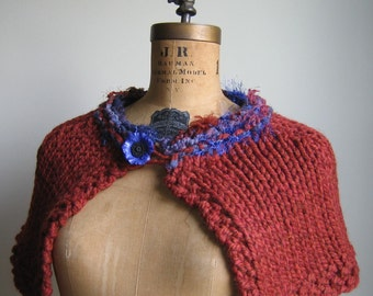 Cyber Monday SALE. Hand knit capelet Marsala. Rust. Blue. Purple. Gifts for her. Ready to ship.