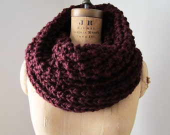 Oversized knit cowl - Oxblood. Burgundy.Infinity scarf. Incognito