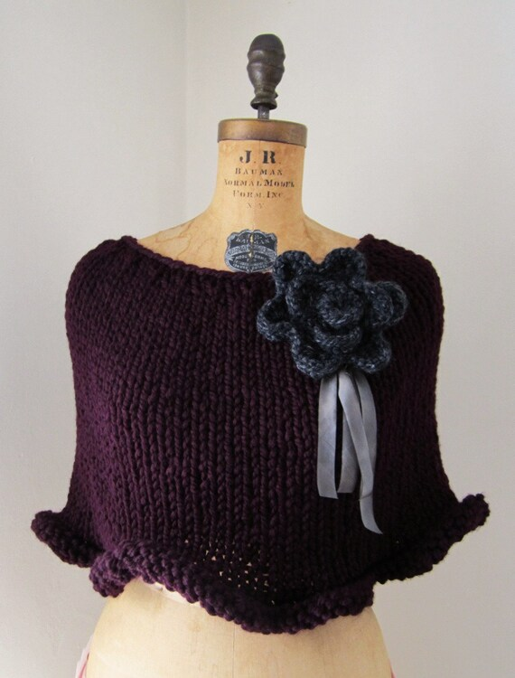 The Ruffle knit capelet Deep Plum. Charcoal Grey.