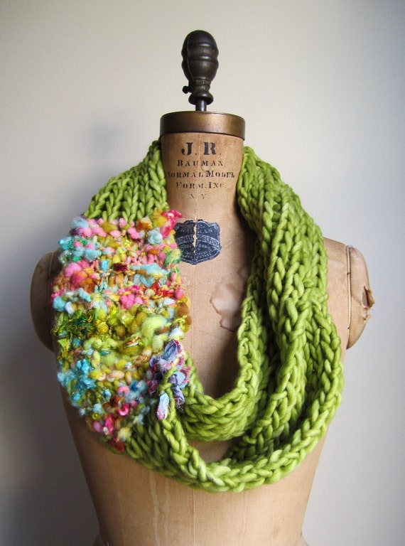 Bohemian knit loop infinity scarf. Chartreuse. Pink. Turquoise.