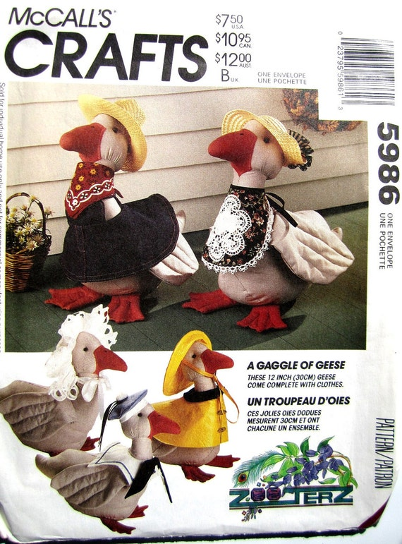 12 inch Goose Pattern // Bonnet // Bib and Bow // Overalls // Slicker and Hat // McCalls Crafts Pattern 5986 // A Gaggle of Geese