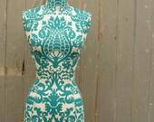 Teenage Bedroom Display Mannequin Female Vibrant Turquoise Damask Display Dressform - Sophie T