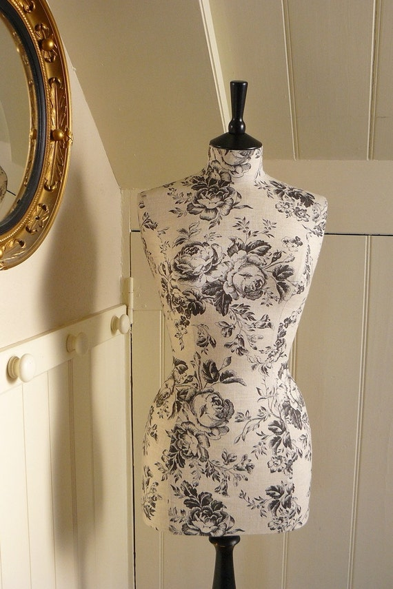 Etched Roses Paris Linen Display Mannequin Dressform